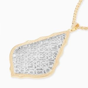 Aiden Long Pendant Necklace In Silver Filigree Mix